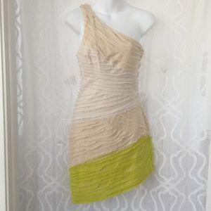 Bebe One Shoulder Tan Green Body Contour Dress